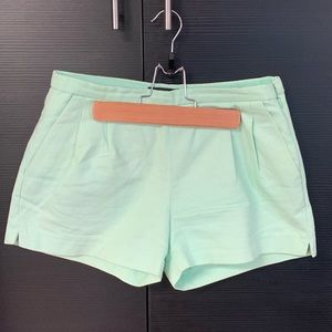 J Crew Mint Green Pleat Shorts